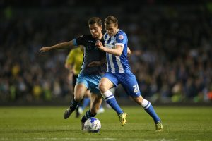 Match action during the Sky Bet Championship play-off second leg match between Brighton and Hove Albion and Sheffield Wednesday at the American Express Community Stadium, Lewes, Falmer, England on 16th May 2016.